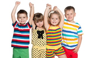 Group Of Four Joyful Children